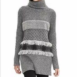 BANANA REPUBLIC |Texture Fringe Turtleneck Sweater